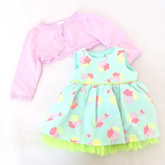 22b29f485 Cat & Jack Dresses | Cat Jack Baby Girl Mint Floral Dress Cardigan ...